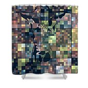 Moon Bath Geometric Splash Shower Curtain
