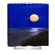 Moon On The Beach Shower Curtain