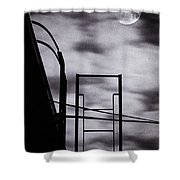 Moon Over Brooklyn Rooftop Shower Curtain