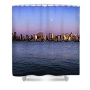 Moon Over Midtown Manhattan Skyline Shower Curtain