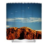 Moon Over Red Rocks Garden Of The Gods Shower Curtain