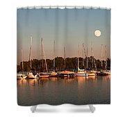 Moon Rises Over The Marina Shower Curtain