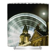 Moon Rising Behind Big Wheel Shower Curtain
