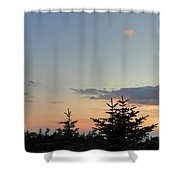 Moon Watching The Sunset In Acadia Shower Curtain