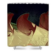 Moon Waves Shower Curtain