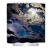 Moonlit Clouds With A Splash Of Lightning Shower Curtain