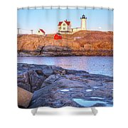 Moonrise At Nubble Light  Shower Curtain