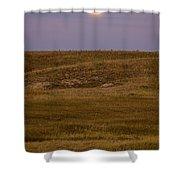 Moonrise Over Badlands South Dakota Shower Curtain
