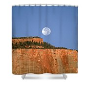 Moonrise Over East Temple - Zion  Shower Curtain