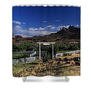 Moonrise Over Grand View Ranch Shower Curtain