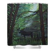 Moose In Pines Shower Curtain