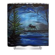 Moose Pond Shower Curtain