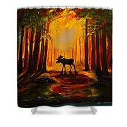 Moose Sunset Shower Curtain