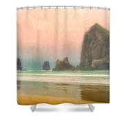 Morning Mist At Haystack Rock Shower Curtain