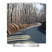 Morning Shadows On The Forest Road Shower Curtain