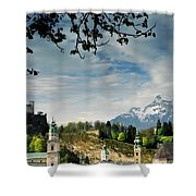 Morning View Of Salzburg From Kapuzinerberg Shower Curtain