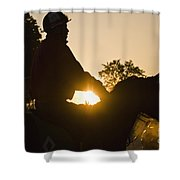 Morning Workout - D007929 Shower Curtain by Daniel Dempster