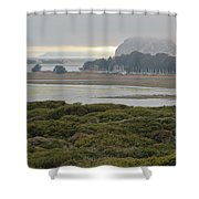 Morro Rock From The Elfin Forest Shower Curtain