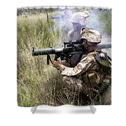 Mortarman Fires An At4 Anti-tank Weapon Shower Curtain by Stocktrek Images