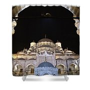 Mosque Yeni Camii At Night Shower Curtain