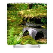 Mossy Japanese Garden Lantern Shower Curtain