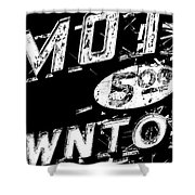 Motel Sign Black And White Shower Curtain