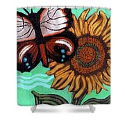 Moth And Sunflower Shower Curtain