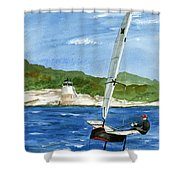 Moth Sailing At Castle Hill Light Shower Curtain