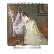 Mother And Baby Shower Curtain by Fritz Paulsen