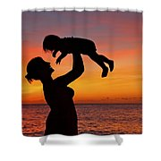 Mother And Child Sunset Silhouette Shower Curtain