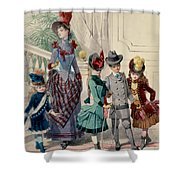 Mother And Children In Indoor Costume Shower Curtain