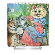 Mother Cat With Fan And Two Kittens Shower Curtain