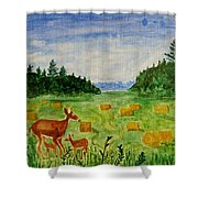 Mother Deer And Kids Shower Curtain