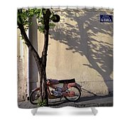 Motorcycle And Tree. Belgrade. Serbia Shower Curtain