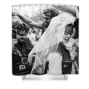 Motorcycle Club Wedding Shower Curtain by Granger