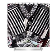 Motorcycle Engine Chrome Shower Curtain