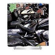 Motorcycles - Harleys And Hondas Shower Curtain