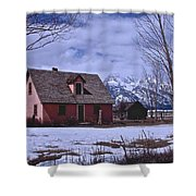 Moulton's Pink House On Mormon Row Shower Curtain