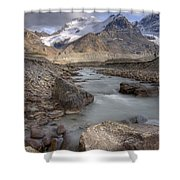 Mount Athabasca At Sunset Jasper Shower Curtain