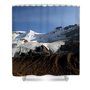 Mount Athabasca From The Columbia Icefields Shower Curtain