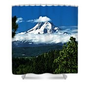 Mount Hood Framed By Trees, Oregon, Usa Shower Curtain