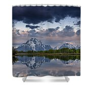 Mount Moran Under Black Cloud Shower Curtain