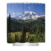 Mount Rainier With Coniferous Forest Shower Curtain