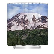Mount Rainier With Coniferous Forest Shower Curtain