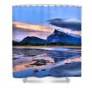 Mount Rundle In The Evening Shower Curtain
