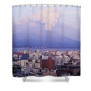 Mount Sakurajima Erupting In Front Of Shower Curtain