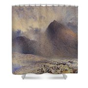 Mount Snowdon Through Clearing Clouds Shower Curtain