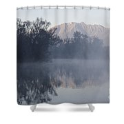Mountain And Trees Reflected In The Water Shower Curtain