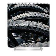 Mountain Bike Tires Shower Curtain