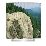 Mountain Biker On Edge Of Cliff Shower Curtain